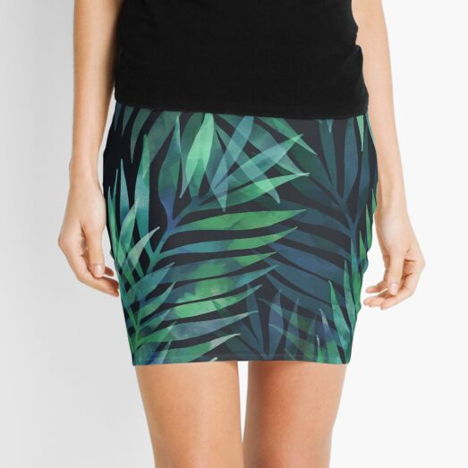 Dark green palms leaves pattern Mini Skirt