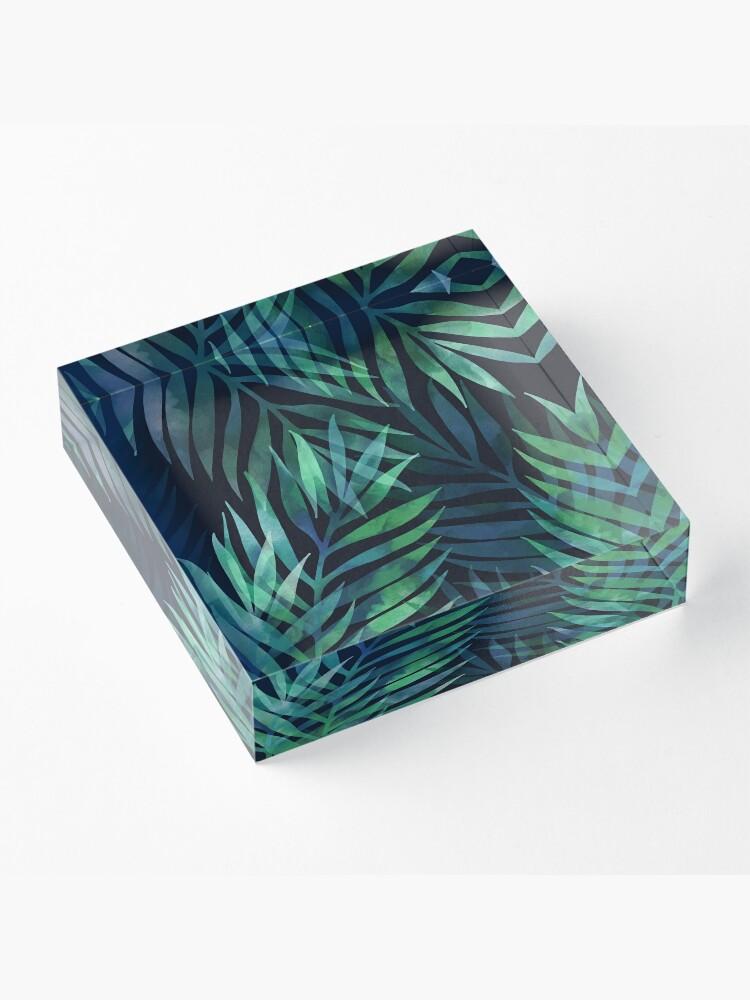 Alternate view of Dark green palms leaves pattern Acrylic Block