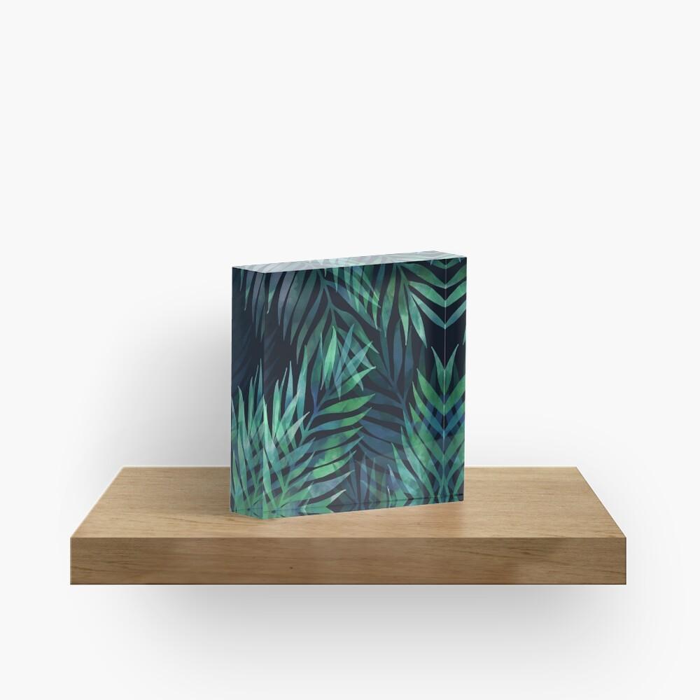 Dark green palms leaves pattern Acrylic Block
