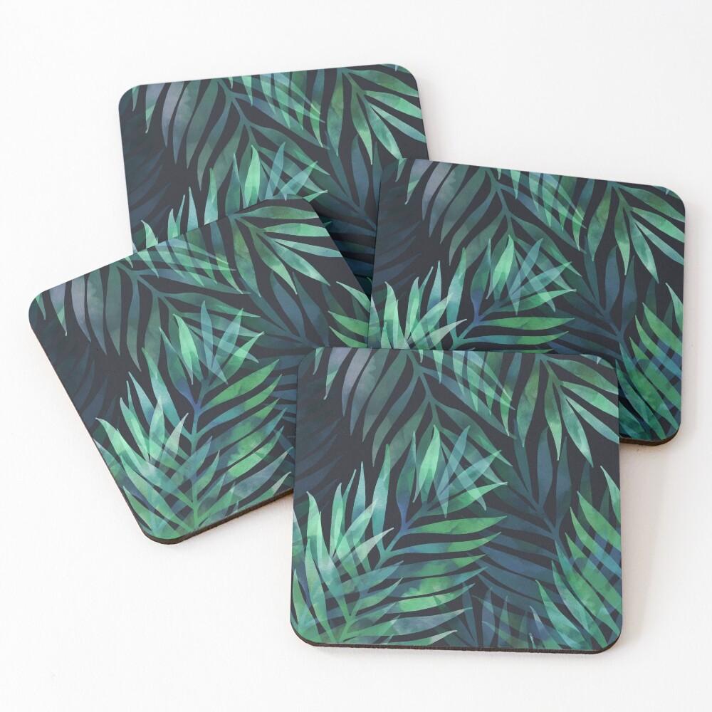 Dark green palms leaves pattern Coasters (Set of 4)