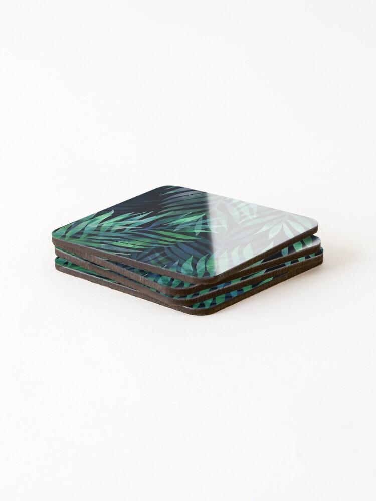 Alternate view of Dark green palms leaves pattern Coasters (Set of 4)