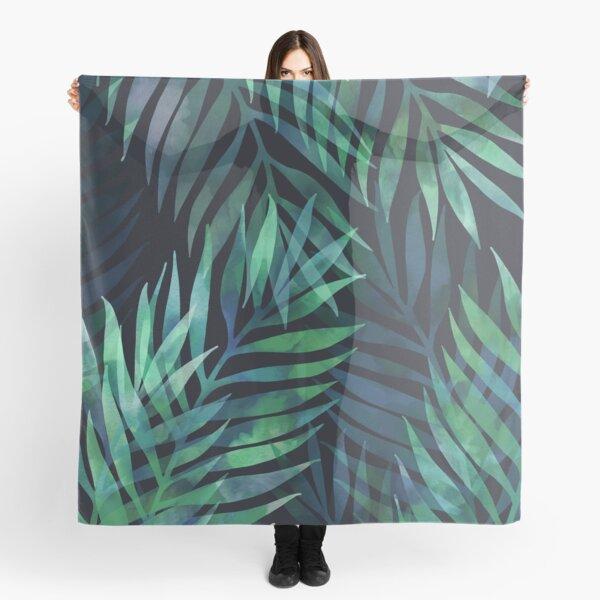 Dark green palms leaves pattern Scarf