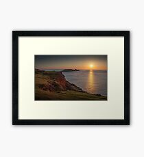 Sunset at Worms head rhossili bay Framed Print
