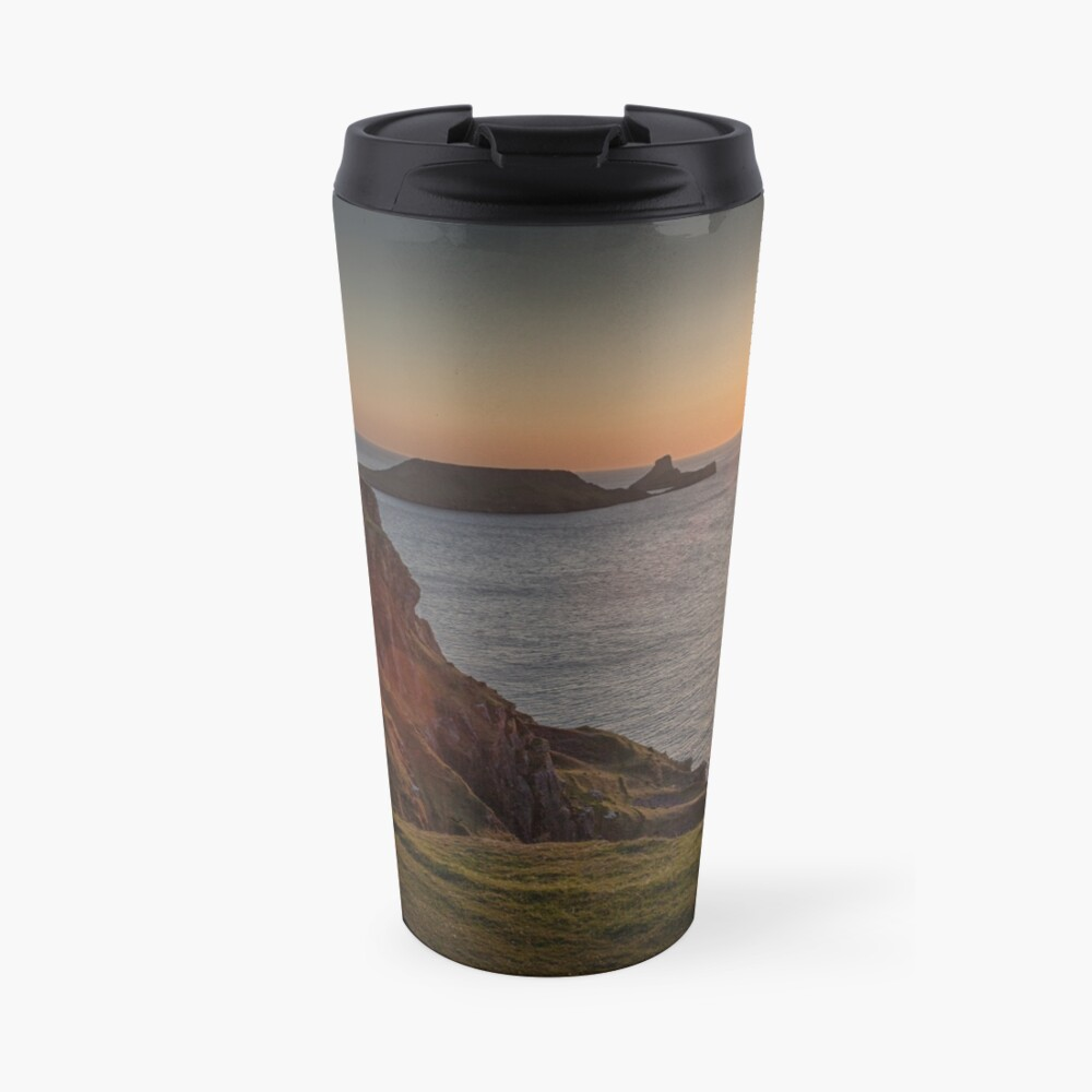 Sunset at Worms head rhossili bay Travel Mug