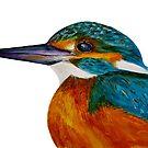 Kingfisher Bird Watercolor Painting Wildlife Artwork by Alison Langridge