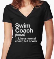 Swim Coach Funny Definition Trainer Gift Design Women's Fitted V-Neck T-Shirt