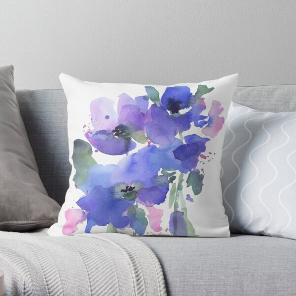 Blue Poppies and Wildflowers Throw Pillow