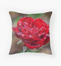 Rose with dew drops Throw Pillow