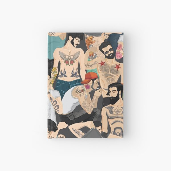 Hot guys with tattoos Hardcover Journal