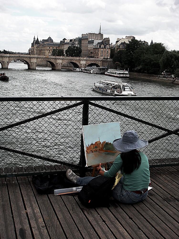 Amateur painter on bridge. Paris, France by rockko