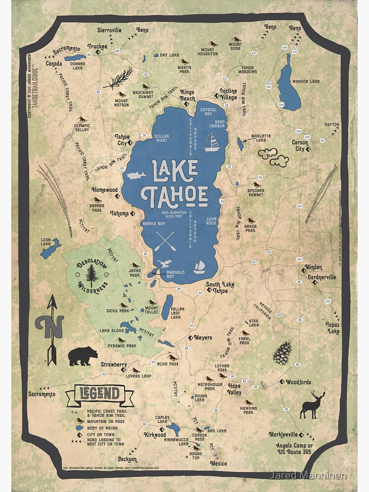Faux Vintage Map of the Lake Tahoe Region by JaredManninen