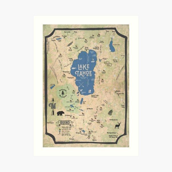 Faux Vintage Map of the Lake Tahoe Region Art Print