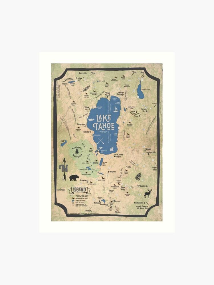 graphic regarding Printable Map of Lake Tahoe named Bogus Classic Map of the Lake Tahoe Space Artwork Print