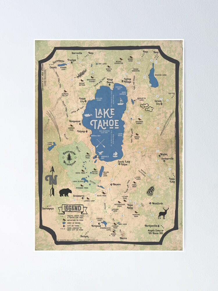 Alternate view of Faux Vintage Map of the Lake Tahoe Region Poster