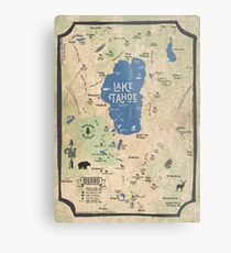 Faux Vintage Map of the Lake Tahoe Region Metal Print