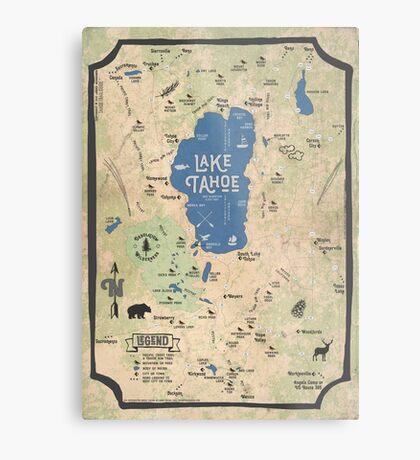 Faux Vintage Map of the Lake Tahoe Region Metal Print