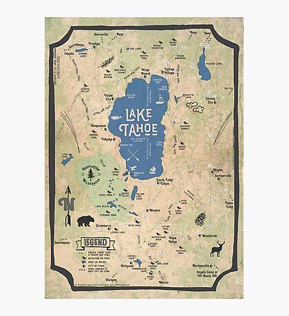 Faux Vintage Map of the Lake Tahoe Region Photographic Print