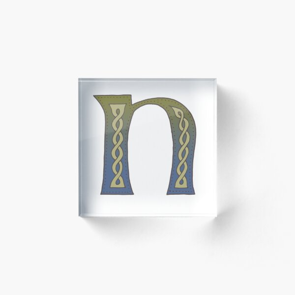 Celtic Knotwork Alphabet - Letter N Acrylic Block