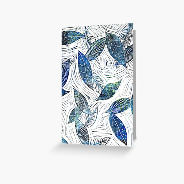 Blue Leaves of Winter Greeting Card