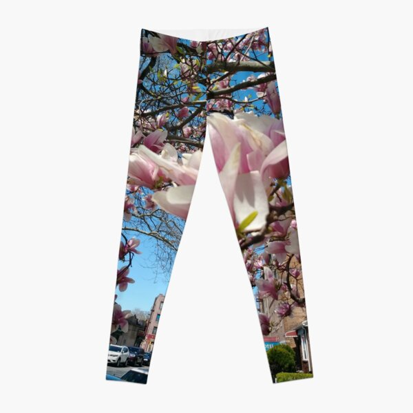 Building, Skyscraper, New York, Manhattan, Street, Pedestrians, Cars, Towers, morning, trees, subway, station, Spring, flowers, Brooklyn Leggings