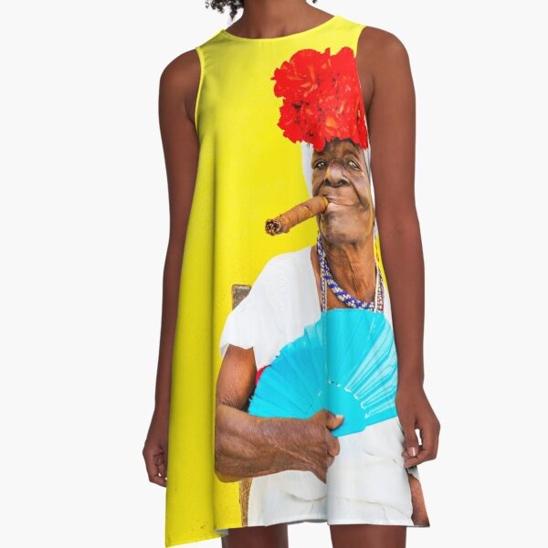 Cuban Woman In Havana With Cigar A-Line Dress