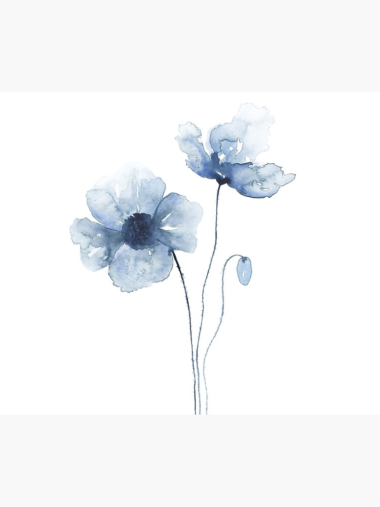 Blue Watercolor Poppies by ChipiArtPrints