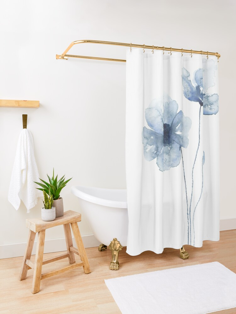 Alternate view of Blue Watercolor Poppies Shower Curtain