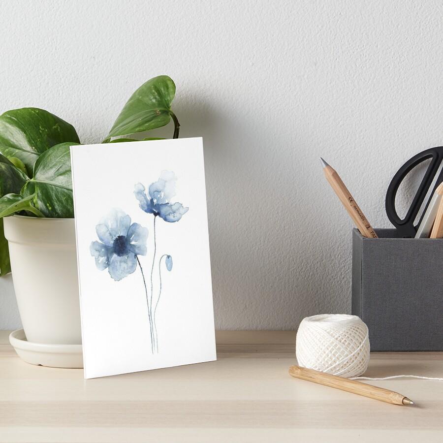 Blue Watercolor Poppies Art Board Print