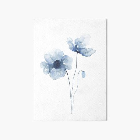 Blue Watercolor Poppies Art Board Print