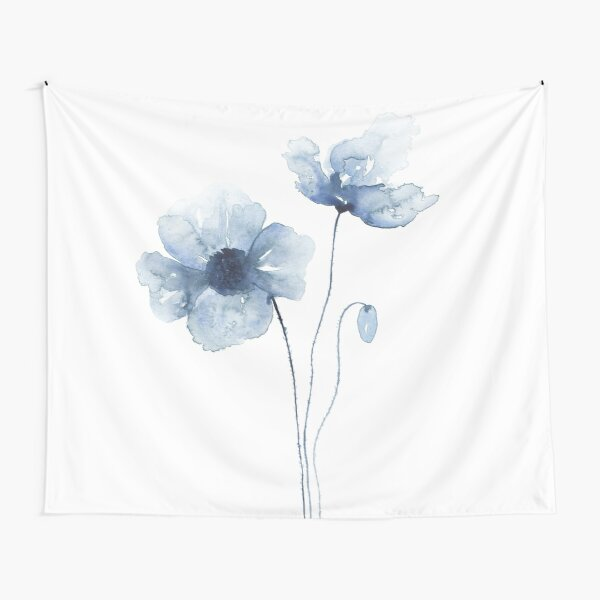 Blue Watercolor Poppies Tapestry