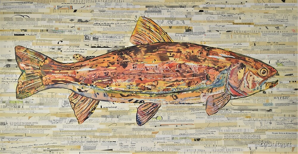 Large Rainbow Trout Collage Art by C.E. White by cewhiteart