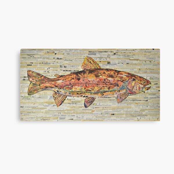 Large Rainbow Trout Collage Art by C.E. White Canvas Print