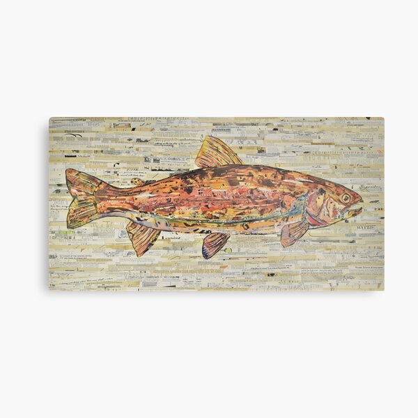 Large Rainbow Trout Collage Art by C.E. White Metal Print