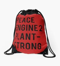 Peace, Engine 2, Plant-Strong Drawstring Bag