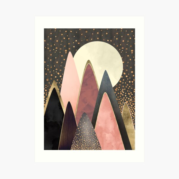 Pink and Gold Peaks Art Print