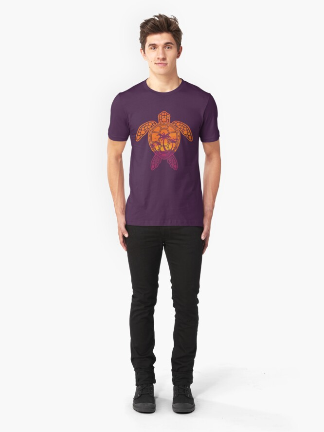 Alternate view of Tropical Sunset Sea Turtle Design Slim Fit T-Shirt