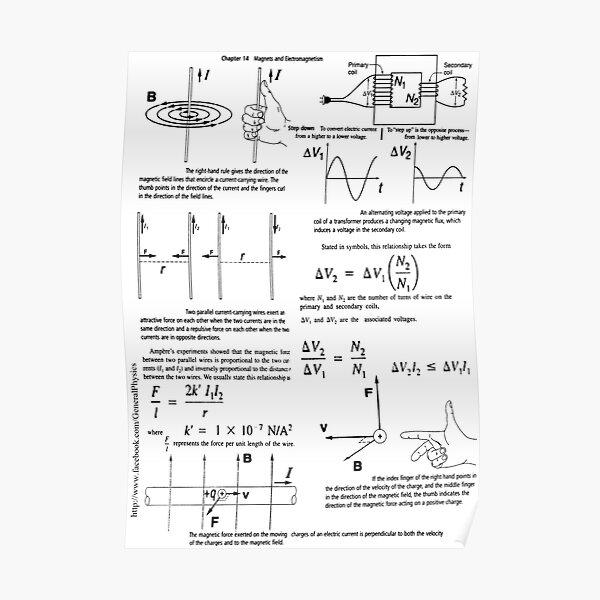Physics Prints,  Physics, Magnets, Electromagnetism, magnetic, electric, current, tesla, weber, electromagnet, flux, pole, dipole Poster