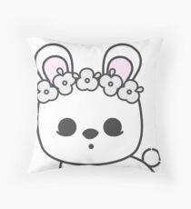 Cute Blanc de Hotot Bunny with Flower Crown: Grey Outline Throw Pillow