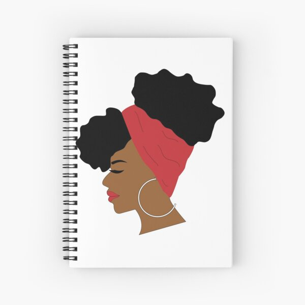 Afro Puffs Woman Profile With Red Scarf Spiral Notebook