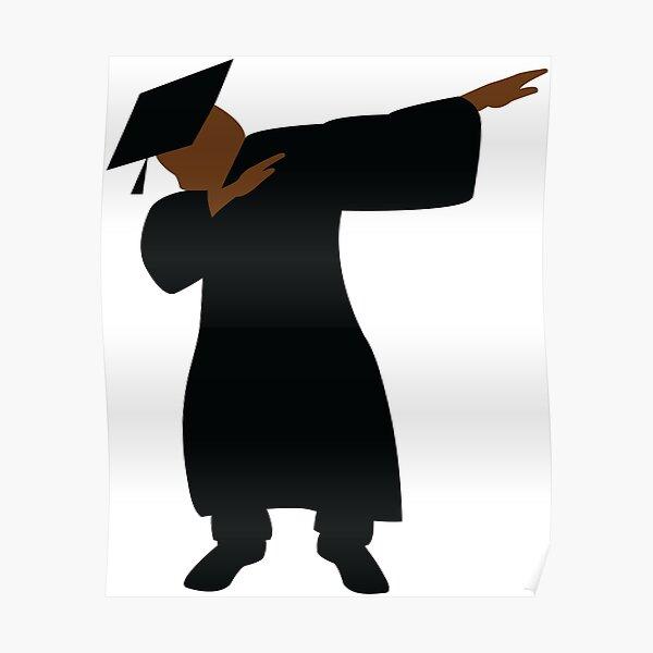 Vestido y birrete de graduación Dabbing Graduado HBCU Black Man Póster