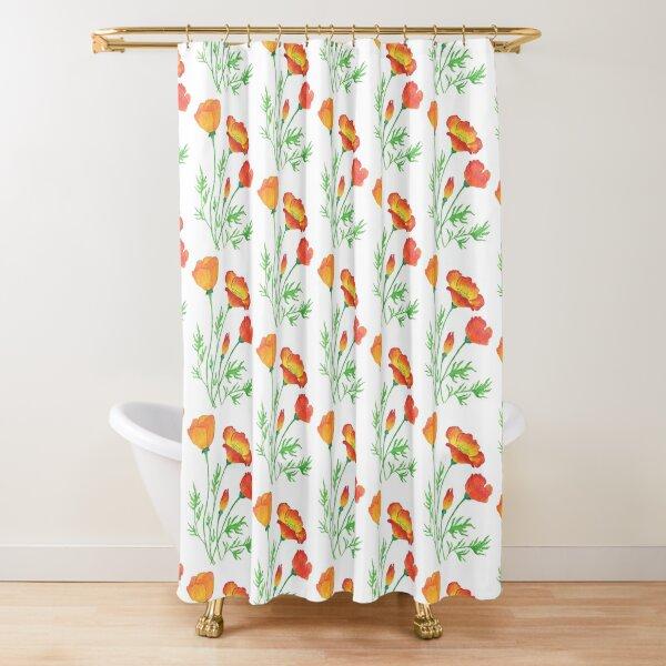 Orange Red Poppies  Shower Curtain