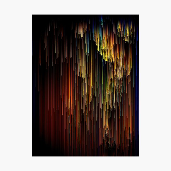 Spectrum Rain - Glitchy Abstract Pixel Art Photographic Print