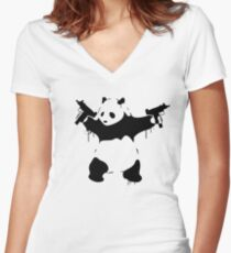 Banksy Panda With Guns Women's Fitted V-Neck T-Shirt