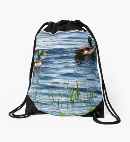 Mallards In the reeds ! Drawstring Bag