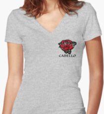 Camiseta entallada de cuello en V Cabello Rose