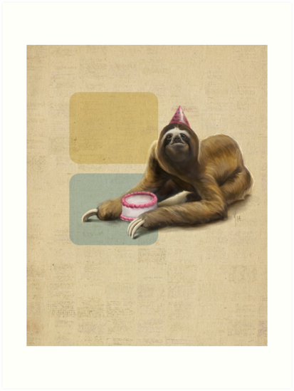 Sloth with Cake by Rebecca Flaum