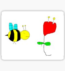Bumble Bee in The Rose Sticker