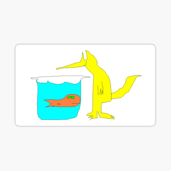 Fox and Goldfish Sticker