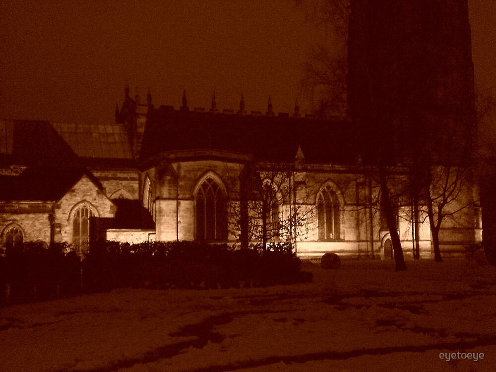 Snow Covered Church Yard by eyetoeye