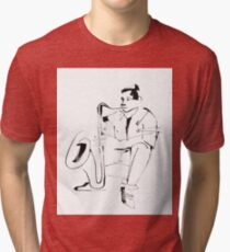Saxophone Player Musician Tri-blend T-Shirt